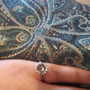 Iridescent flower ring